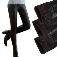 botas de pantalones de cuero negro al por mayor-Nuevo 2017 Engrosamiento Negro Botas de Cuero Polainas Pantalones Flacos Pantalones de Invierno Cálido de Las Mujeres Pantalones de Invierno Para Las Mujeres Nuevo Casual