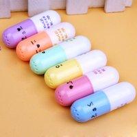 bolígrafos al por mayor-Mini 6 unids / set Lovely píldora en forma de caramelo Color Highlighter plumas para escribir linda cara Graffiti Marker Pen School Supply escuela