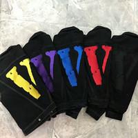 yeni renkler kot erkekler toptan satış-Vlone ARKADAŞLAR ceket Yeni Stil ÜST Klasik kırmızı V LOGOSU Büyük Baskı Pop Kadın Erkek jean ceket Hip hop Kaykay Marka 6 renkler