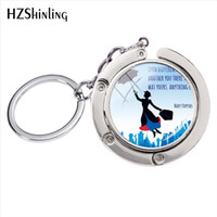 Wholesale mary arts resale online - Fashion Cartoon Mary Poppins Glass Cabochon Art Photos Round Bag Hanger Accessory Silver Keychains