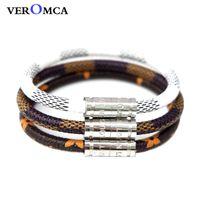 ingrosso braccialetti unisex personalizzati-VEROMCA Bracciale in pelle alla moda Homme Bracciali da uomo in acciaio inossidabile con fibbia magnetica Bracciale formato personalizzato Gioielli da donna