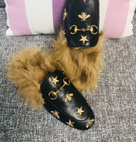 Wholesale black cat slippers for sale - Group buy Lead cat Rihanna fur slippers ladies shoes sandals fashion cuffs black slides high quality boxes size