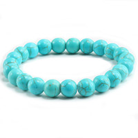 naturstein perlen blau großhandel-Hohe Qualität Blau Weiß Grün Rot Natürliche Türkis Stein Armband Homme Femme Charms 8 MM Männer Strand Perlen Yoga Armbänder Frauen