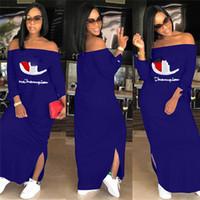 kadınlar için sonbahar elbiseleri toptan satış-Kadın Şampiyonlar Mektup Elbise Marka Omuz Out Bölünmüş Uzun Hoodie Elbiseler Sonbahar Güz Moda Uzun Kollu Etek Artı Boyutu Giyim