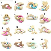 Wholesale Baby Teether Rings Food Grade Beech Wood Teething Ring Teethers Chew Toys Shower Play Chew Round Wooden Beads