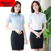 Wholesale white work shirts for women - Women Short Sleeve Lapel Neck Blouse Shirt with Pencil Slim Skirt for Work OL Ladies wear S-5XL Plus Size White Light Blue DK856F