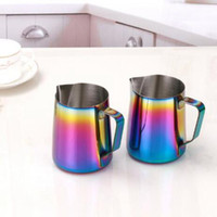 Wholesale espresso mugs - 350ml 600ml Milk Frothing Jug Espresso Coffee Pitcher Barista Craft Coffee Latte Stainless Steel Rainbow Milk Mugs Coffe Pots CCA9835 50pcs