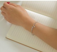 Wholesale Alex Ani Gold - Explosive jewelry simple character design ECG lightning bracelet lovers heart beat frequency bracelet men bracelet alex ani charm bracelets