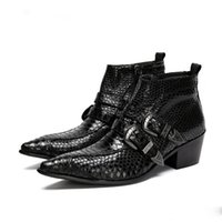 marcas de botas pontudas para homens venda por atacado-100% Marca New Black Men Botas Dedo Apontado Antumn Ankle Boots De Couro Dos Homens Botas De Negócios Formal bota masculina, EU38-46
