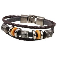 Wholesale chinese alloy bangle for sale - Group buy Chinese Fashion Retro Bracelet Alloy Jewelry Leather Bracelet Beaded Jewelry