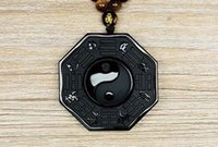 Wholesale lighting pendants bamboo - 100% natural obsidian hand carved yin and yang gossip lucky pendant