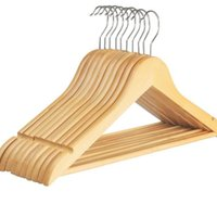 Wholesale clothes dry rack for sale - Group buy Wooden Clothes Hanger Coat Hanger For Dry And Wet Dual Cloth Purpose Rack Non Slip Storage Supplies Eco Friendly SN182