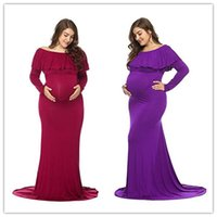 Maternity Dresses Photography Props Maternity Photography Props Long Sleeve Founces Pregnant Women Dresses Plus Size Long Tail