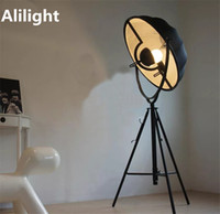 Wholesale Vintage Lamp Stand - Vintage Cloth Iron E27 Floor Lamps Black White Standing Lamp Floor Light for Living Room Bedroom Parlor Bar Restaurant Fixtures
