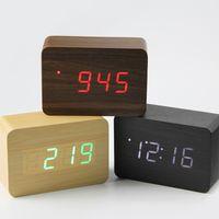 elektronik masa saatleri toptan satış-2018 Küçük sevimli LED ahşap dijital saat Despertador Ses Kontrolü USB Sıcaklık Göstergesi Elektronik Masaüstü Masa Saati