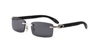 ingrosso caso di occhiali da sole di bambù-Nuovo arrivo 2017 occhiali da sole di marca per uomo donna bianco corno bufalo occhiali senza montatura occhiali da sole in legno di design con lunetta scatola