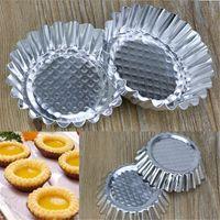алюминиевая пудинговая форма оптовых-20Pcs/LOT Egg Tart Aluminum Cupcake Cake Cookie Mold Pudding Mould Tin Baking Tool P0.21