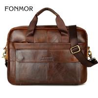 klasik deri laptop messenger çantası toptan satış-Yeni Erkekler Evrak Hakiki Deri Çanta Bağbozumu Dizüstü Evrak Messenger Omuz Çantaları erkek Çantası