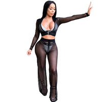 Wholesale sexy track women resale online - Sexy Hooded Mesh Tracksuit Piece Set Crop Top And Pants Women Costume Sweat Suits See Through Track Suit Female Fashion