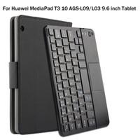ledertasche für huawei mediapad großhandel-Für Huawei MediaPad T3 10 AGS-L09 / L03 9,6 zoll Tablet Magnetisch Abnehmbare ABS Bluetooth Tastatur PU Ledertasche + Geschenk