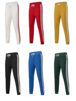 moda artı boyutu toptan satış-Erkek Tasarımcı Joggers 6 Renkler Moda Marka Sweatpants Çizgili Panalled Kalem Jogging Yapan Pantolon Ücretsiz Kargo Artı Boyutu S-4XL