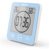 temporizadores de cuenta regresiva de reloj de pared al por mayor-Baldr Digital Reloj de baño Reloj de ducha impermeable Ventosas Temporizador de alarma de cuenta regresiva Reloj de pared de humedad Reloj termómetro digital