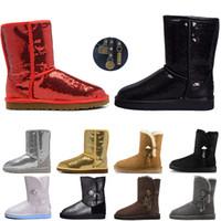 Wholesale sheepskin rhinestone flats resale online - Women Boots Glitter Sequin WGG Australia Classic designer Snow winter boots Ankle Mini Short Knee Sparkles Button Bling Boot direct selling