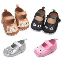 Wholesale baby owl sticker - Baby Girls Shoes Spring Summer PU Cartoon Owl Anti-Skid Sticker Shoes for Baby Girl