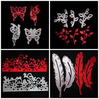 ingrosso rami di farfalla-Scrapbook FAI DA TE Muffa Piuma Farfalla Ramo Forma decorativa Forma Taglio Taglio Puzzle Metallo Modello in carbonio Stee Durevole 5 5ws4 B