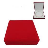 caixas para vender jóias venda por atacado-caixa de jóias de veludo pérola colar caixa caixa de presente vermelho fora branco dentro, vendido por saco de 2 pcs