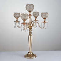 Wholesale Crystal Wedding Candelabra Wholesale - 80 cm height 5-arms metal Gold  Silver candelabras with crystal pendants wedding candle holder Event centerpiece 10 pcs   lot