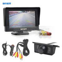 kit de color ir al por mayor-DIYKIT con cable de 4.3 pulgadas de Color TFT LCD Monitor de coche + IR Visión Nocturna HD Cámara de visión trasera Kit de Asistencia de aparcamiento de la cámara del coche