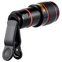 câmeras de lente zoom venda por atacado-Universal 12X Zoom Óptico Telescópio Lente Da Câmera Clipe Telescópio Do Telefone Móvel Para o telefone Inteligente no pacote de varejo