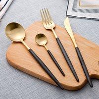 ingrosso forchette occidentali-Set 50 posate Posate a forma di coltello e forchetta in acciaio inox 304 stoviglie western in acciaio inox La maniglia bianca dorata flatwar