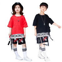 Wholesale Ballroom Dance Costumes For Kids - Kids Loose Ballroom Jazz Hip Hop Dance Performance show Costumes for Girl Boy T Shirt Shorts Clothing Set Dancing Wear Outfits