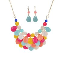 индийская модная мода оптовых-Korean Jewelry sets Beach Style Necklace Earrings Set Fashion African  European American Brincos Earing Pendientes Mujer