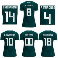 Wholesale R H - Women's Mexico home green football jersey CHICHARITO 2018 female soccer shirts R MARQUEZ a+++ thai quality sports tops G DOS SANTOS H LOZANO