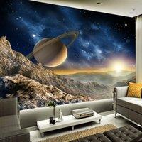 kaliteli duvar kağıdı toptan satış-Salon tv Duvar Kağıdı Boyama Yüksek Kalite Özel 3D Photo Duvar Kağıdı Uzay Evren Fotoğrafçılık Arkaplan Ev Dekorasyonu Duvar