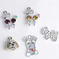 diy accessories supplies Australia - Alloy Pendant Diamond Charms Heart Cute Dog Shape Diy Tag Collar Necklace Hair Accessories Portable Creative Mix Color 0 85rm ff