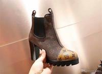 animal print cuero genuino al por mayor-2019 mujeres diseñadores botas famosas de lujo de marca de cuero genuino de tacón alto zapatos de mujer zapatos de moto de moda tamaño 35-40