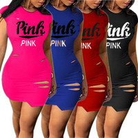Wholesale girls cap sleeve t shirt - Women Love Pink Bodycon One-piece Dresses Summer Sleeveless T-shirt Letter Girls Ripped Dress Sexy Tight Sports Club Clothes AAA559