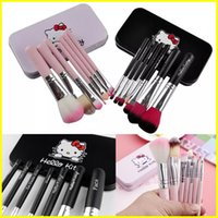 Wholesale wholesale iron box - Hello Kitty lovely makeup brush 7pcs kit iron box cartoon Brushes blush brush Face and Eye Powder brushes Makeup Tools DHL Free shipping