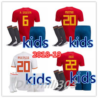 Wholesale kids shirts sale - 2018 world cup Spain kids kit soccer jersey18 19 Spain away soccer shirt 2019 ASENSIO MORATA ISCO A.INIESTA child Football uniforms sales