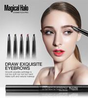 maquiagem de olhos mágicos venda por atacado-Magia Halo 5 cores Highlighter maquiagem sobrancelha impermeável com pente escovas 2 em 1 conjunto de sobrancelha automática