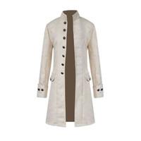 chaquetas militares de época al por mayor-Hombres Steampunk Militar Vintage Coat Stand Collar Single Breasted Chaquetas Sólidas Hombre Manga Larga Slim Clothes Long Trench 8J0602
