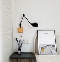 interruptor de aplique de pared vintage al por mayor-Regron Retro Escandinavo Rústico Diy Negro Accesorios de pared Interruptor de cabecera Apliques de pared Lámparas de luz de pared Led Dormitorio Loft Estudio Cafe