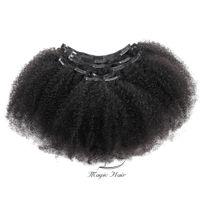 cheveux brésiliens bouclés 8inch achat en gros de-Evermagic Hair Afro Curly Clip Dans Extensions de Cheveux Humains Cheveux Vierges Brésiliens 8inch-28inch 7 Pièces / Ensemble Naturel Couleur 120g / ensemble