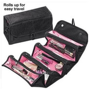 Wholesale wholesale jewelry travel roll bags - ROLL-N-GO Make Up Cosmetic Bag Case Cases Women Makeup Bag Hanging Toiletries Travel Kit Jewelry Organizer Cosmetic Case Foldable