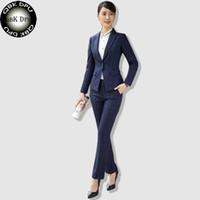 Wholesale Formal Attire - QBKDPU brands Business attire Work wear women's Plaid Suit long-sleeve one buttons blazer Trousers OL Office ladies formal suits