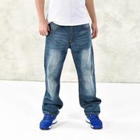 Wholesale Multi Pocket Trousers Jeans - 2017 Mens Cargo Jeans Pants Multi Pocket Hip Hop Designer Baggy Jeans Mens Loose Fit Casual Trousers Cotton Size 44 46 050304